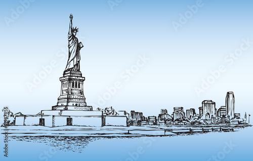 statua-wolnosci-szkic-wektor-niebieskie-tlo