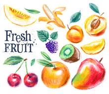 Fruit On A White Background. Sketch, Illustration