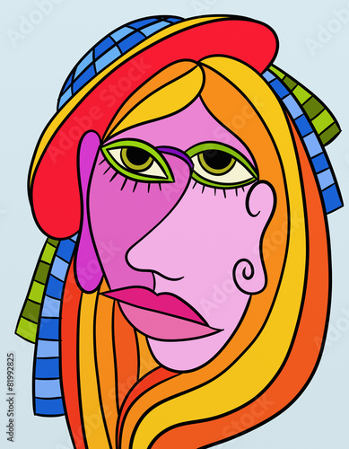 Photo sur Aluminium Abstrait antique abstract design with face of woman