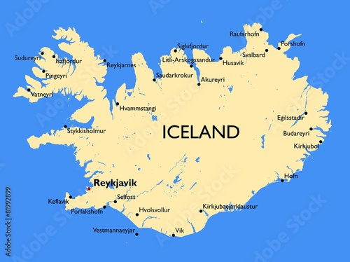 Iceland map Canvas Print