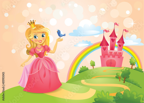 Fairy Tale castle and Beautiful princess