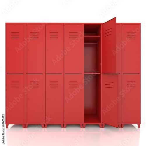 Fotografia, Obraz red empty lockers isolate on white background