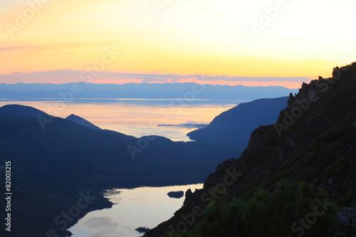 sunset over the lake Baikal