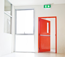 Building Emergency Exit With Exit Sign