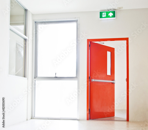 Building Emergency Exit with Exit Sign Wall mural