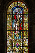 Vitrage window. Interior of church in Monastery of Jeronimos, Li