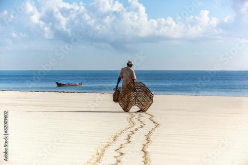 Fotografie, Obraz  Rybář v Keni, voda, příroda, lidé, rybaření, oceán