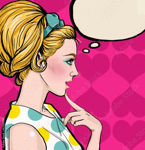 fototapeta na lodówkę Pop Art blond dziewczyna w profilu z dymka.