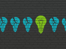 Business Concept: Light Bulb Icon On Wall Background