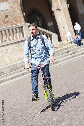 Schoolboy on footbike Canvas-taulu