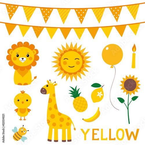 fototapeta na drzwi i meble Elementy w kolorze żółtym