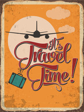 """Retro Metal Sign """"it's Travel Time"""""""