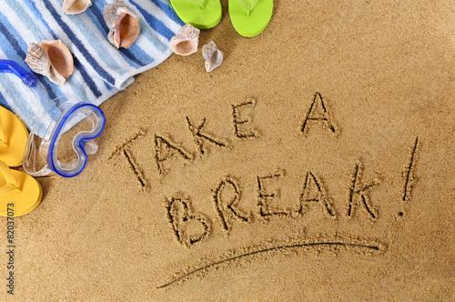 Poster Oceanië Take A Break beach background