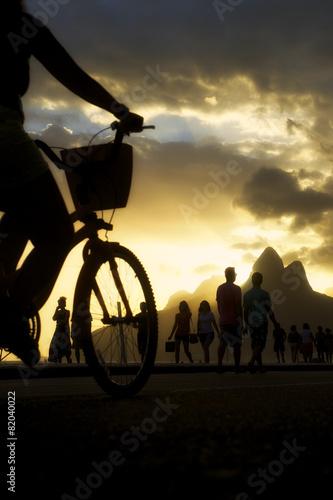 Biking Silhouettes Ipanema Beach Rio de Janeiro Brazil Canvas Print