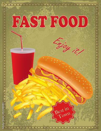 Fotografie, Obraz  Vintage  Fast Food poster