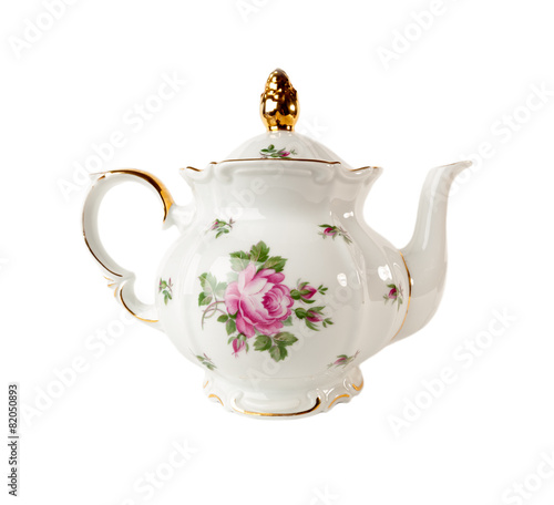 Fotomural Porcelain teapot with a pattern of roses