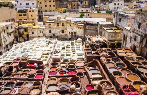 Cuadros en Lienzo  Fes, Marruecos, zoco de cuero curtiduría.