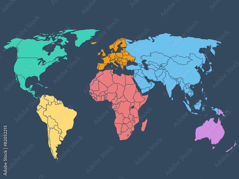 Photo  World map illustration, stock vector