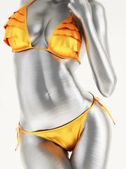 Panel Szklany Erotyka Woman wearing a gold bikini