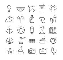 Summer Travel Icons Thin Lines