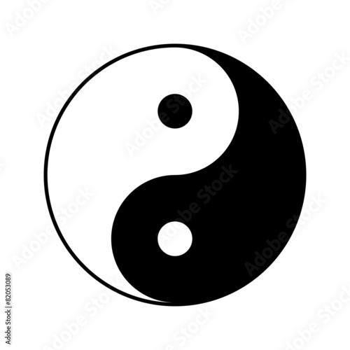 Fotografering  Yin and yang symbol, vector illustration