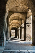 Archway, Columns, Courtyard And Cobblestones In Palace Of Pilott