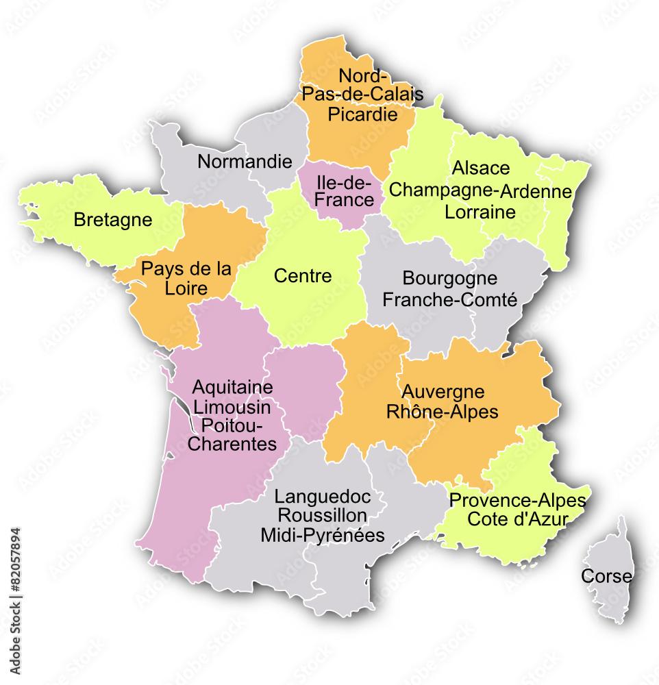 Frankreich Karte Regionen.Karte Der Regionen Von Frankreich Foto Poster Wandbilder Bei