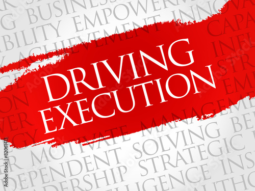 Fotografía  Driving Execution word cloud, business concept