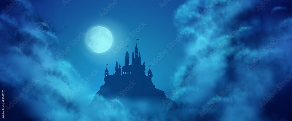 Fototapeta Fantasy Vector Castle Moonlight Sky