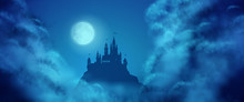 Fantasy Vector Castle Moonlight Sky