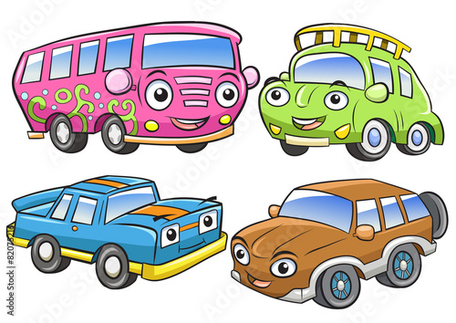 Staande foto Cartoon cars Funny vehicles. Cartoon and vector isolated characters.