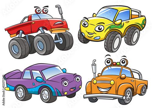 Staande foto Cartoon cars Cartoon the off road car