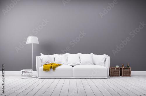 Fotografie, Obraz  Modernes Wohnzimmer in minimal Stil mit Sofa