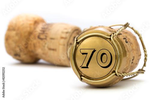 Fotografie, Obraz  Champagnerkorken Jubiläum 70 Jahre