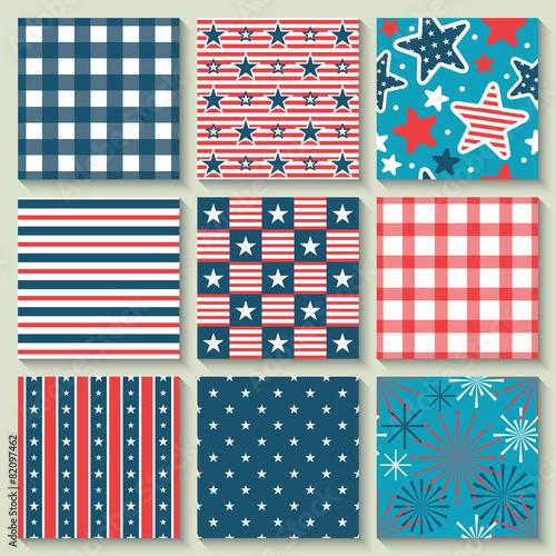 Türaufkleber Künstlich 4th of July, Independence Day of the USA, seamless pattern set f