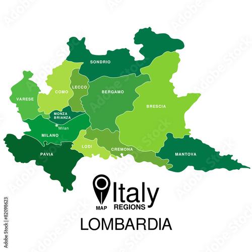 Regions map of Italy. Mappa delle regione Lombardia Wall mural