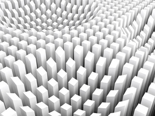 Curved surface formed white columns area array, 3d