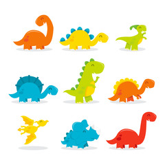 Cute Fun Cartoon Dinosaurs