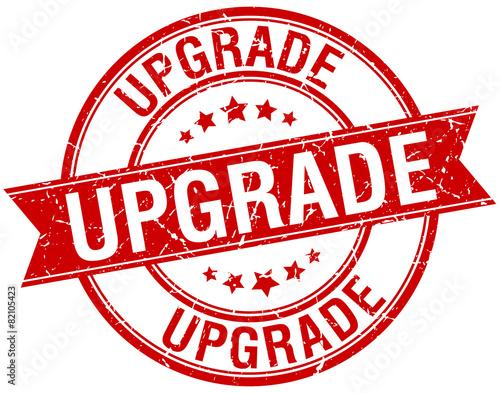 Fotografía  upgrade grunge retro red isolated ribbon stamp