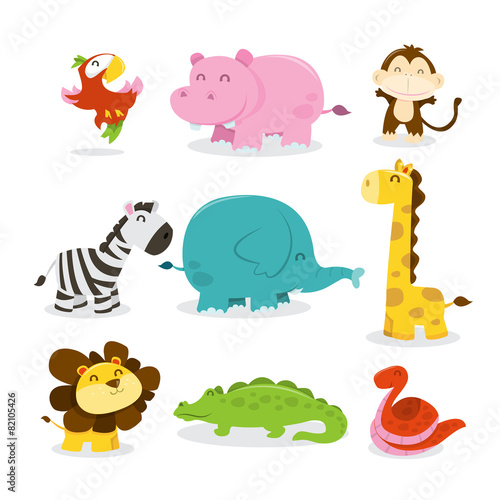 Happy Jungle Animals Icons Poster