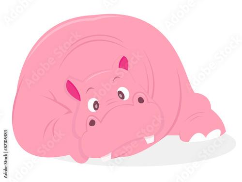 Garden Poster Fairytale World Cartoon Pink Hippo Front Facing Lying Down