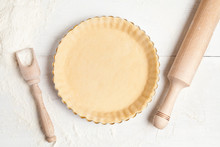 Tart Pie Preparation, Dough With Yeast And Rolling Pin On White