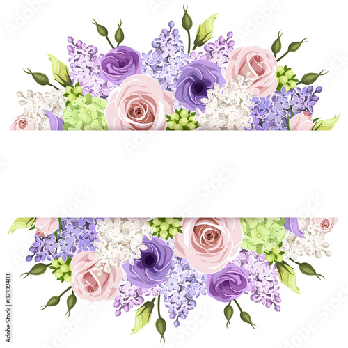Background with pink, purple and white roses and lilac flowers.