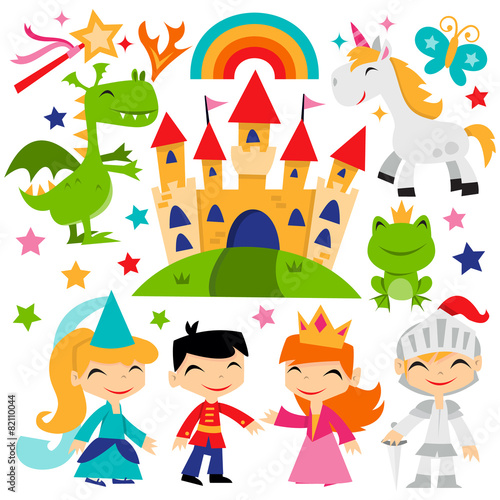 Fotografie, Obraz  Retro Magical Fairytale Kingdom Set
