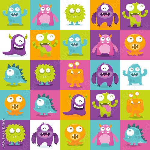 Tapeta ścienna na wymiar Happy Silly Cute Monsters Tiles Pattern Background