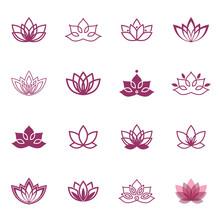 Lotus Symbol Icons. Vector Flo...