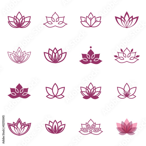 Photographie  Lotus symbol icons. Vector floral labels for Wellness industry
