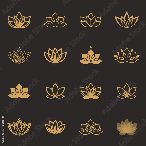 Lotus symbol icons. Vector floral labels for Wellness industry Fototapete