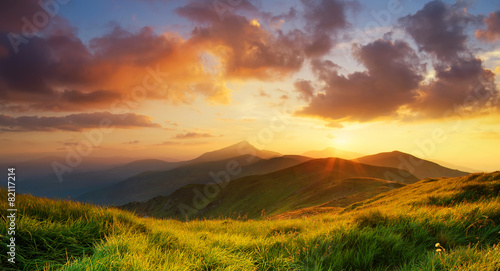 Fototapeta Mountain valley during bright sunrise