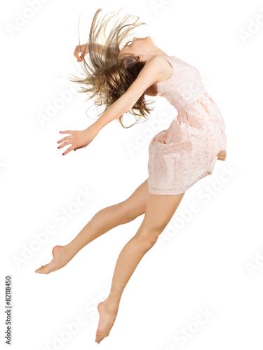 Foto op Aluminium Dance School Young girl dancer isolated